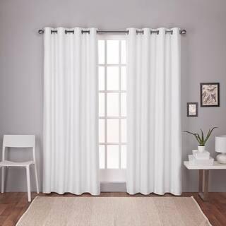 Oliver James LeWitt Thermal Textured Linen Look Grommet Top Curtain Panel Pair