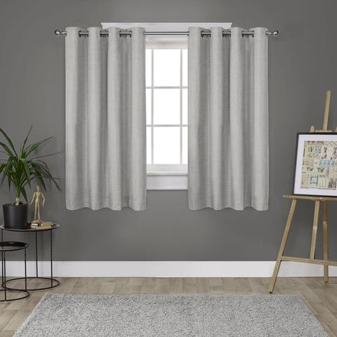 Strick & Bolton LeWitt Thermal Textured Linen Grommet Top Curtain Panel Pair