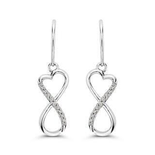 10k White Gold 1/10ct TDW Diamond Infinity Heart Drop Earrings (J-K, I1-I2)