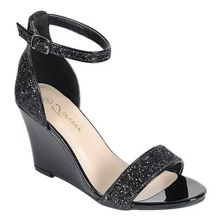 Forever Women's Glitter Ankle Strap Wrapped Wedge Heel Dress Sandals