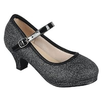 Link Girl's Glitter Strap Buckle Wrapped Kitten Heel Mary Jane