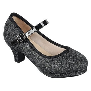 Link Girl's Glitter Strap Buckle Wrapped Kitten Heel Mary Jane (More options available)