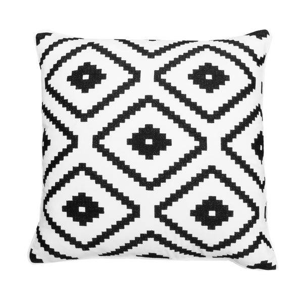 18x18 White and Black Allister Aztec Embroidered Pillow