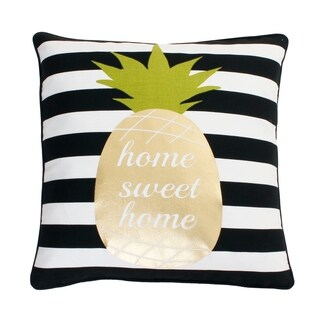 18x18 Black, White & Gold Good Vibes Pineapple Pillow