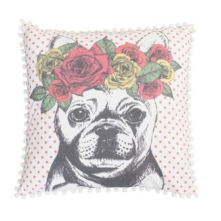20x20 Coral Bella French Bulldog Pillow