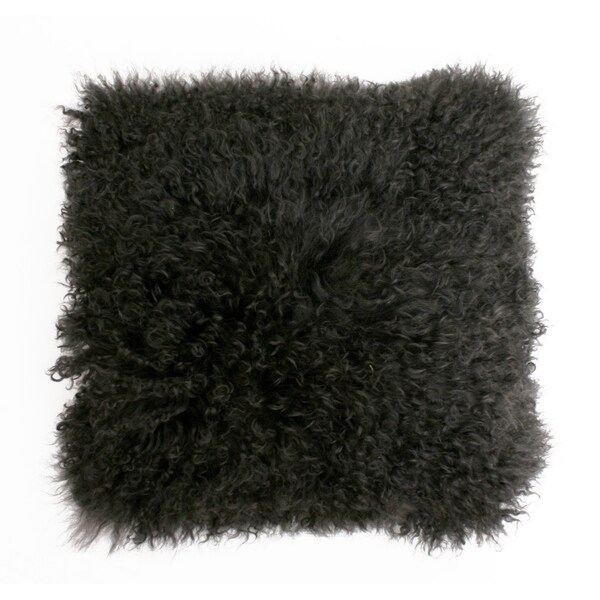 16x16 Mongolian Lamb Pillow with Faux Suede