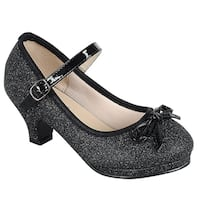 Link Girl's Glitter Bow Strap Buckle Wrapped Heel Platform Mary Jane