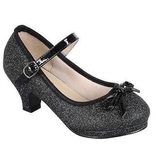 Link Girl's Glitter Bow Strap Buckle Wrapped Heel Platform Mary Jane (More options available)