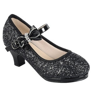 Link FQ16 Girl's Glitter Sparkling Bow Platform Wrapped Heel Mary Jane (More options available)