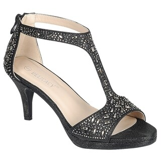 Forever Women's Sparkle Rhinestone Zipper T-strap Wrapped Heel Sandals