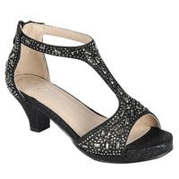 Link Girl's Glitter Rhinestone T-Strap Zipper Wrapped Heel Sandals