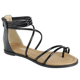 Forever FQ21 Women's Strappy Back Zipper Ankle Wrap Flat Sandals