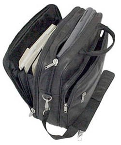 Amerileather Black Leather Softside Briefcase - Thumbnail 2