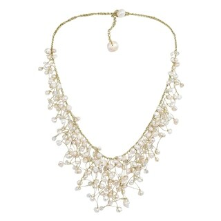 Waterfall of White Pearl Crystal Gold Silk Thread Necklace (Thailand)