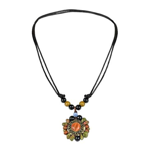 Handmade Rise of Sun Mix Stones Cotton Wax Rope Necklace (Thailand) - Orange