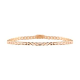 14K Rose Gold Over Sterling Silver Morganite Tennis Bracelet SZ 8 - Pink
