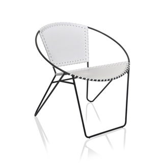 A.H. By Horizon Interseas Mid-Century White Leather and Iron Chair