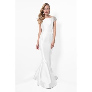 Elegant Long Mother of the Bride Dress with Beaded Cap Sleeves