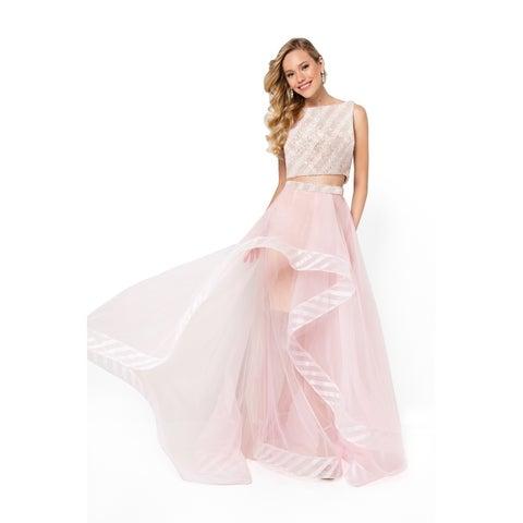 Stripe Beaded Two Piece Long Prom Dress
