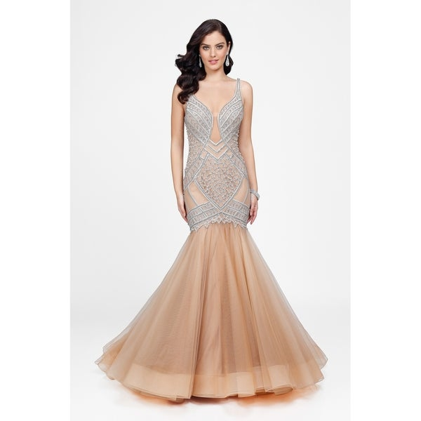Shop Nude and Beaded V-Neck Gold Label Gown with Elegant Tulle Skirt - Free  Shipping Today - Overstock - 20011973 4599c8caff06