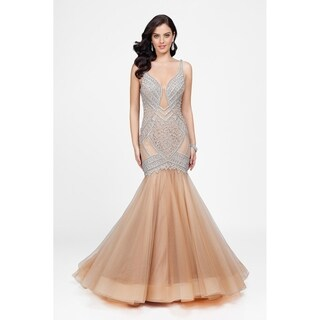 Nude and Beaded V-Neck Gold Label Gown with Elegant Tulle Skirt