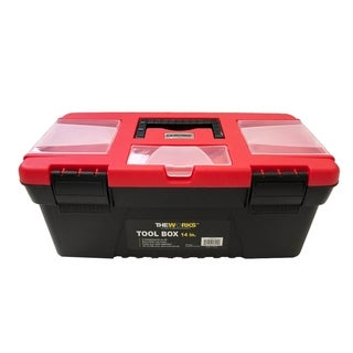 """THEWORKS 14"""" Tool Box with Lid Organizers & Removable Tray"""