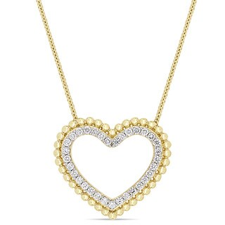 Miadora Signature Collection 14k Yellow Gold 1/2ct TDW Diamond Open Heart Beaded Halo Necklace