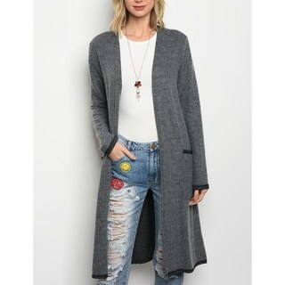 JED Women's Long Length Fuzzy Charcoal Knit Cardigan