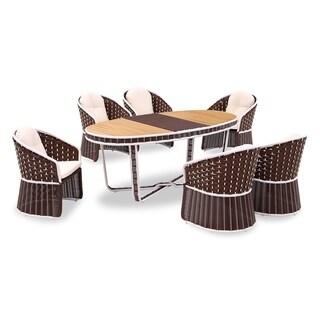 Fawn Brown Rattan 7-piece Outdoor Dining Set