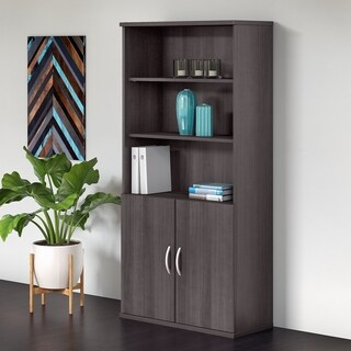 Bush Business Furniture Studio C 5 Shelf Bookcase with Doors in Gray