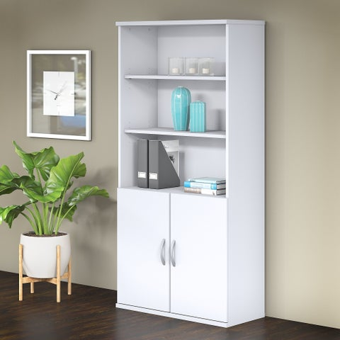 Bush Business Furniture Studio C 5 Shelf Bookcase with Doors in White