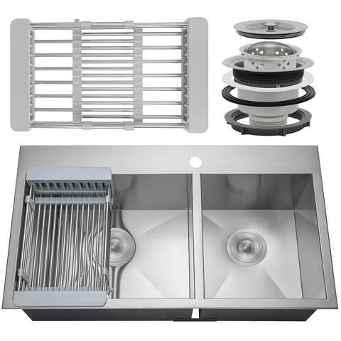 "AKDY KS0102 33"" x 22"" x 9"" Handmade Stainless Steel Top Mount Kitchen Sink Dual Basin Tray Strainer Kit - Silver"