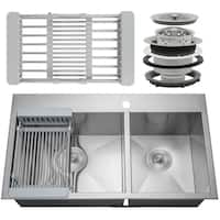 "AKDY KS0102 33"" x 22"" x 9"" Handmade Stainless Steel Top Mount Kitchen Sink Dual Basin Tray Strainer Kit"
