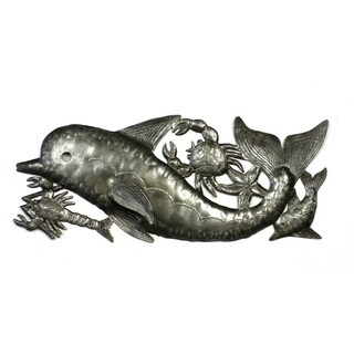 Handmade Dolphin and Sealife Metal Wall Art (Haiti)