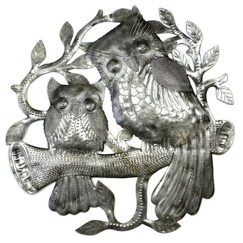 Handmade Pair of Owls on Perch Metal Wall Art (Haiti)