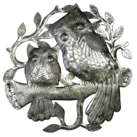 Handmade Pair of Owls on Perch Metal Wall Art (Haiti)