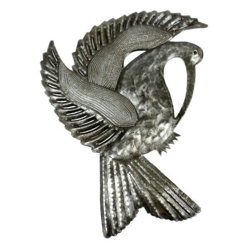 Handmade Bird with Plumage Metal Wall Art (Haiti)