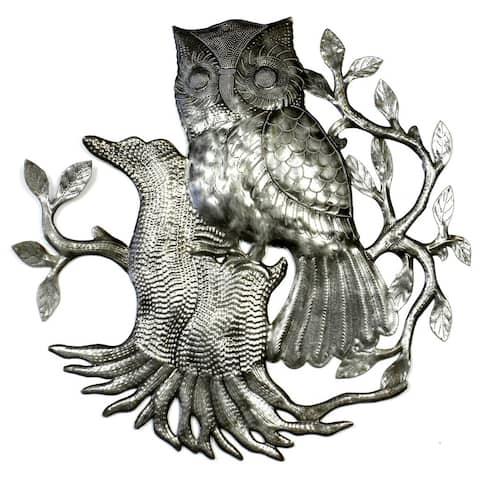 Handmade Owl on Perch Metal Wall Art (Haiti)