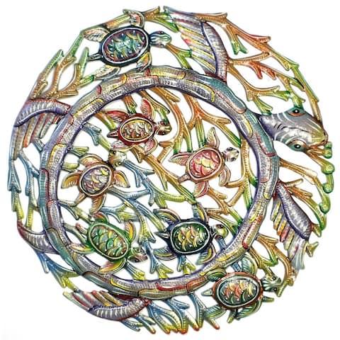 Handmade Sea Turtle Metal Wall Art (Haiti)