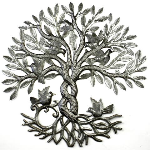 Handmade Entwined Tree of Life Metal Wall Art (Haiti)