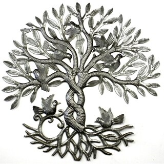 Handcrafted Entwined Tree of Life Metal Wall Art (Haiti)