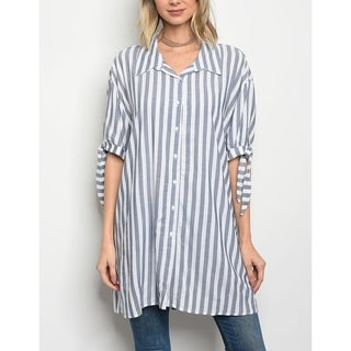 JED Women's Relaxed Fit Flowy Stripes Tunic Button Down Shirt