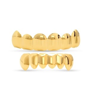 Steeltime Men's Gold Tone Brass 6-Tooth Grillz in 3 Styles