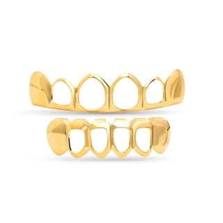 Steeltime Men's Gold Tone Brass Open Face 6-Tooth Grillz in 3 Styles