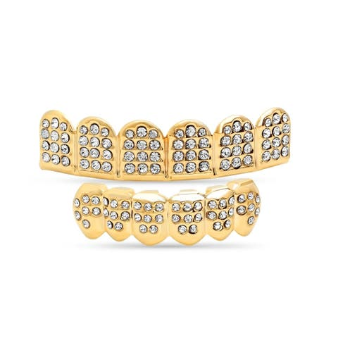 Steeltime Men's Gold Tone Brass Cubic Zirconia 6-Tooth Grillz in 3 Styles