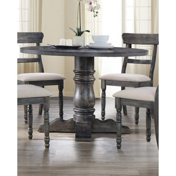 Best Master Furniture Weathered Grey Round Dining Table