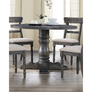 Best Master Furniture Weathered Grey Wood Round Dining Table