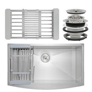 "AKDY KS0113 33"" x 20"" x 9"" Apron Farmhouse Handmade Stainless Steel Single Bowl Kitchen Sink - Silver"