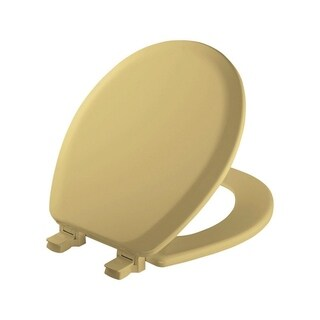 Mayfair Never Loosens Round Harvest Gold Wood Toilet Seat