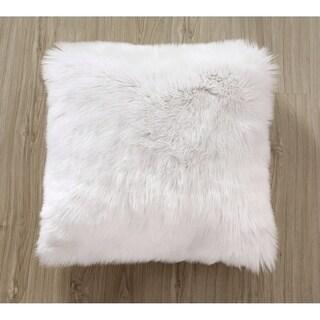 Super Soft Plush White Mongolian Faux Fur Throw Pillow Cover